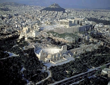 aerial view of acropolis: