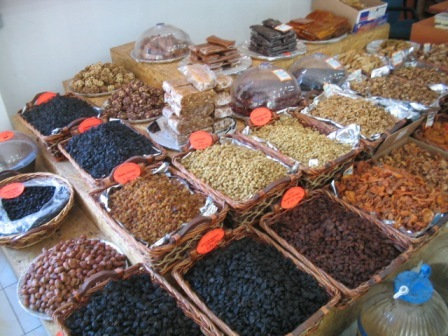 dried fruits and nuts: