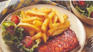 steak and chips: